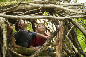 Children building a den from twigs and branches, in the grounds of Allan Bank, Grasmere, Cumbria.