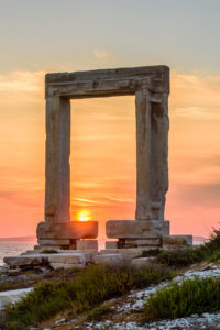 Portara - ruins of ancient temple of Delian Apollo on Naxos island, Cyclades archipelago, Greece.